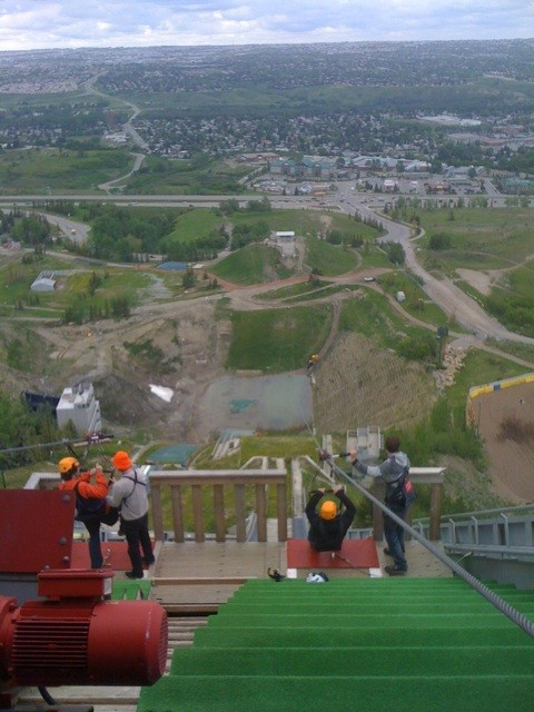 Ziplining from the ski jump tower. O_o