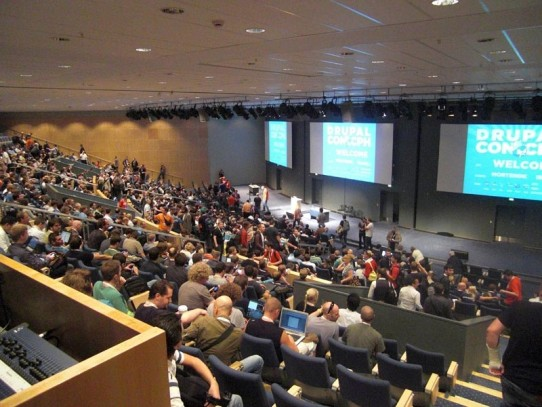 """Big keynote speech by Dries Buytaert. Main message: """"Get ready to play with ..."""