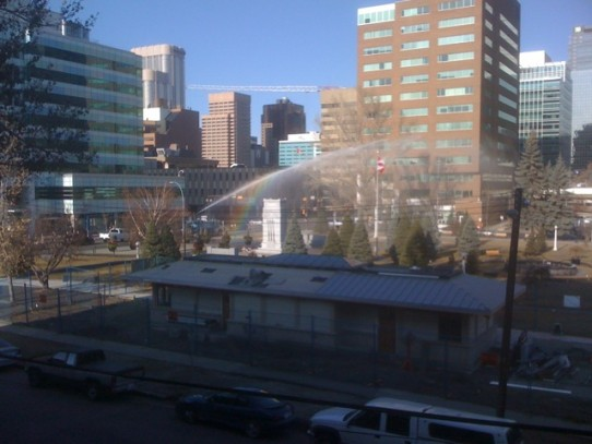 How nice, the city has installed a portable rainbow generator outside my balcony.