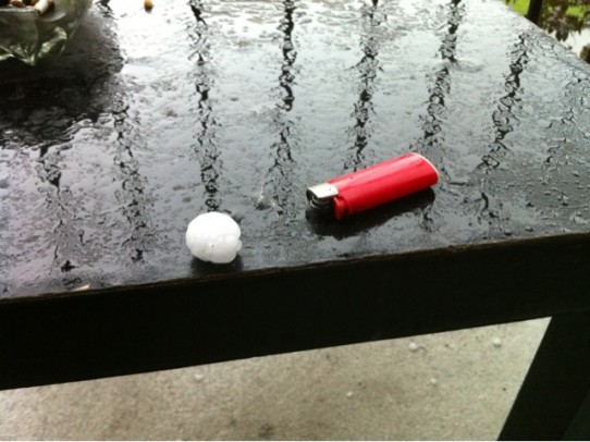 Holy shit, inch+ hail in downtown #yyc