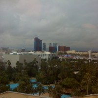 Western view from our suite, of the Mirage pool. Was not expecting Vegas to be cold, wet and humid.