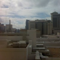 Looking south from our suite towards the strip, with Caesar's Palace and Eiffel Tower