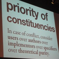 "Keith: ""Priority of constituencies"", brilliant slide. #drupalcon"